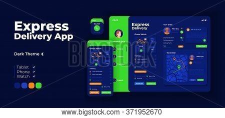 Express Courier Service App Screen Vector Adaptive Design Template. Home Shipping Application Night