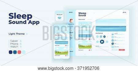 Sleep Sound App Screen Vector Adaptive Design Template. Calming Music And Relaxing Sounds Applicatio