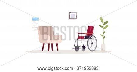 Psychologist Empty Office Semi Flat Rgb Color Vector Illustration. Armchair In Interior. Rehabilitat