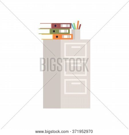 Short Cabinet Semi Flat Rgb Color Vector Illustration. Storage For Files And Folders. Financial Data