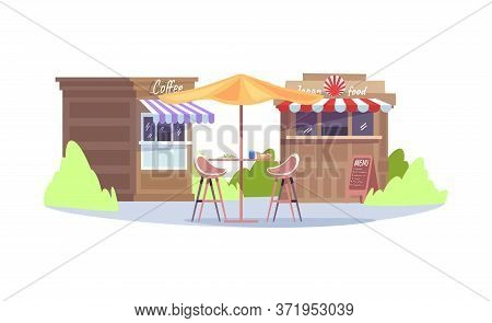 City Fair Semi Flat Rgb Color Vector Illustration. Food Festival. Store To Sell Snacks And Drinks. S