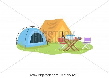 Outdoors Recreation Semi Flat Vector Illustration. Colorful Tents With Furniture. Camping Outdoors,