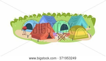 Campsite Semi Flat Vector Illustration. Colorful Tents. Camping Outdoors. Tables And Grill For Touri