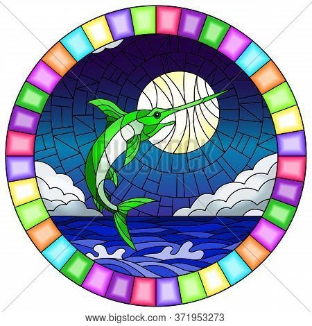 Illustration In Stained Glass Style With A Fish Swordfish On The Background Of Water ,cloud, Sky And