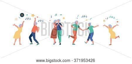 Happy Old People Dancing Isolated Flat Vector Illustration. Cartoon Senior Grandfathers And Grandmot