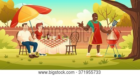 Bbq Party. People At Table On Backyard And Black Man Cooks Meat On Grill. Vector Cartoon Illustratio