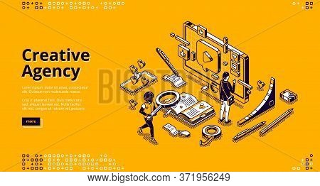 Creative Agency Banner. Creative Strategy Of Digital Design For Promotion And Advertising Company In