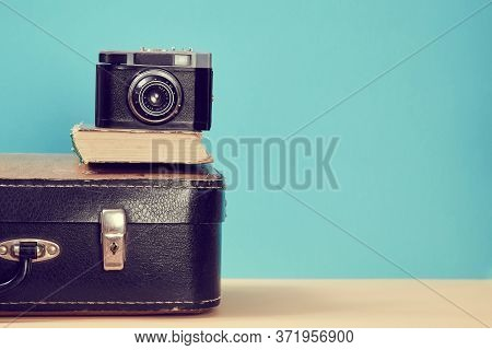 Travelling Background. Blogging. Vintage Travelling. Retro Suitcase With Old Book And Camera, Copy S
