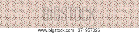 Seamless Vector In Geometric Polygon Shape Border Pattern. Mid Century Modern Woven Linen Texture St