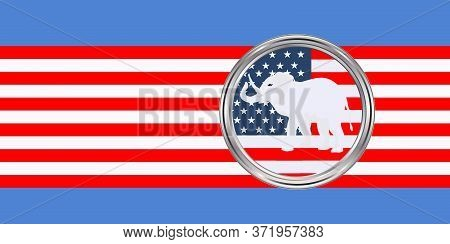 Republican Symbol, National Flag Icon - Vector. Presidential Election In The United States Of Americ