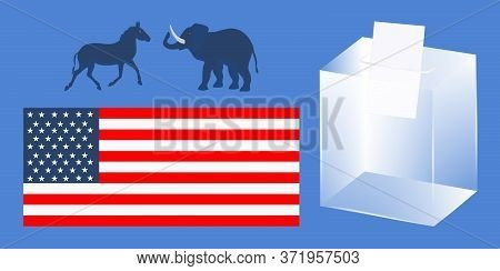 Ballot Box, National Flag, Elephant And Donkey Symbols - Vector. Presidential Election In The United