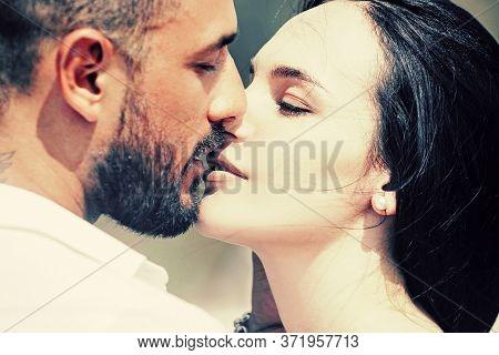 Romantic Portrait Of A Sensual Couple In Love. Gentle Romantic Couple Celebrates The Day Of All Love