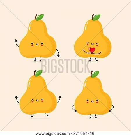 Cute Smiling Pear Collection. Trendy Hand Drawn Inllustration Vector Flat Characters. Pear Character