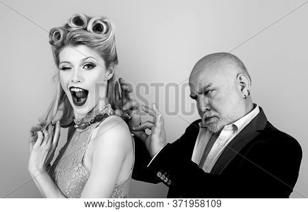 Blonde Woman Eye Wink At Camera. Happy Blonde Woman With Luxury Hairstyle And Makeup Smile While Her