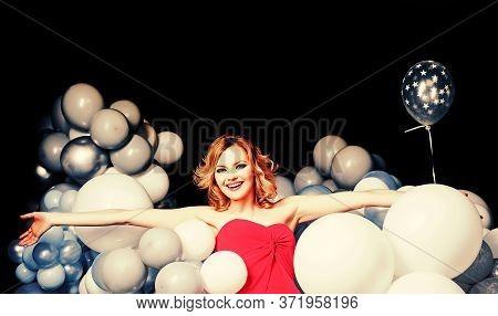Lady In Red. Celebrating New Year, Christmas, X-mas, Birthday, B-day. Portrait Of Pretty Charming Gi