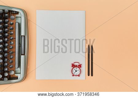 Deadline Or Creative Writing. Deadline Approaching. Writing New Book. Typewriter, Sheet And Paper, A