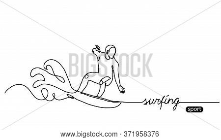 Surfing Vector Background, Web Banner, Poster. Surfing Sport Minimalist Illustration.