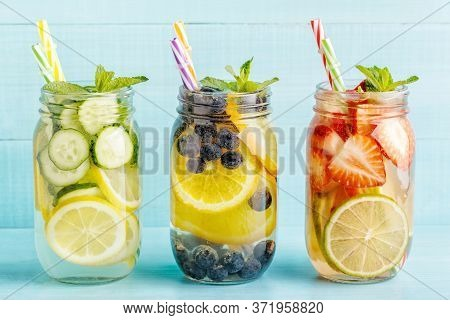 Detox Fruit Infused Water. Refreshing Summer Homemade Cocktail