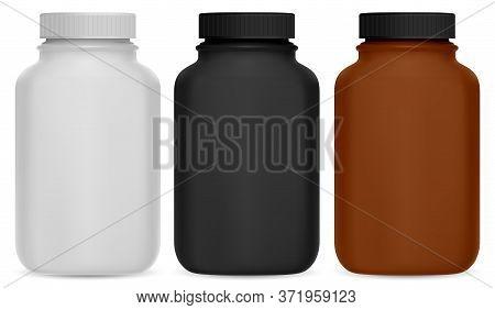 Pill Bottle. Vitamin Supplement 3d Package Mockup. Medical Jar Design Without Logo For Health Care D