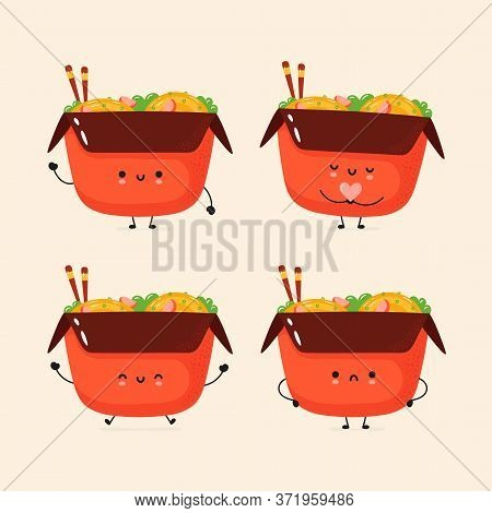 Cute Smiling Noodle Collection. Trendy Hand Drawn Illustration Vector Flat Characters. Chinese Noodl