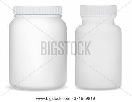 White Plastic Supplement Bottles. Sport Jar For Whey Protein Powder. Vitamin Drug Cylinder Tube 3d D