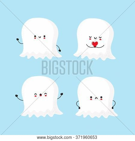 Cute Smiling Ghost Collection. Trendy Hand Drawn Illustration Vector Flat Characters. Ghosts Charact