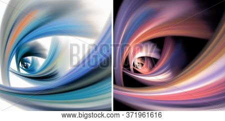 Set Of Two Abstract Fractal Backgrounds. Blue And Pink Arcs Converge At Two Points On White And Blac
