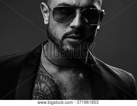 American Man. Sexy Brutal Man In Glasses. Stylish Man Or Casual Clothing And Eyeglasses. Glasses For