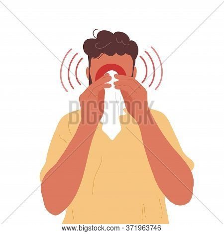 Young Man Blowing Nose Into Handkerchief. Flat Modern Trendy Style.vector Hand Drawn Character Illus