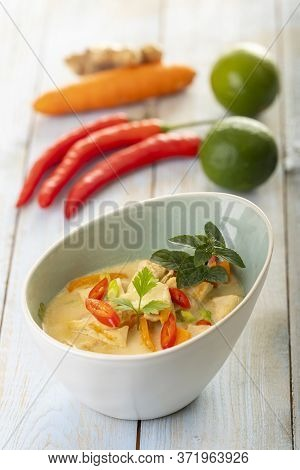 Thai Tom Kha Gai Soup On Wood
