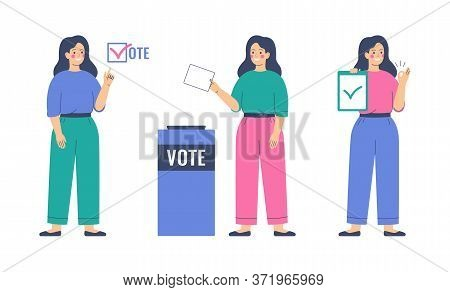 Voting And Election Concept. Girl Is Putting Paper Ballot In The Ballot Box. Women Activists Are Cal