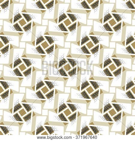Abstract Seamless Pattern Of Rotating Geometric Shapes With Dots Texture.