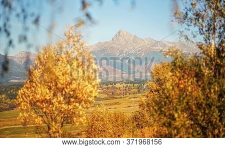 Mount Krivan Peak Slovak Symbol With Blurred Autumn Coloured Trees In Foreground, Typical Autumnal S