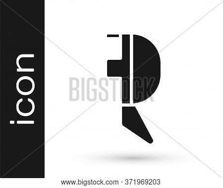 Grey Fencing Helmet Mask Icon Isolated On White Background. Traditional Sport Defense. Vector Illust