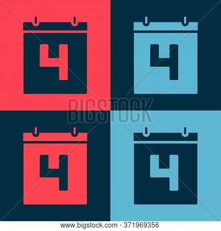 Pop Art Day Calendar With Date July 4 Icon Isolated On Color Background. Usa Independence Day. 4th O