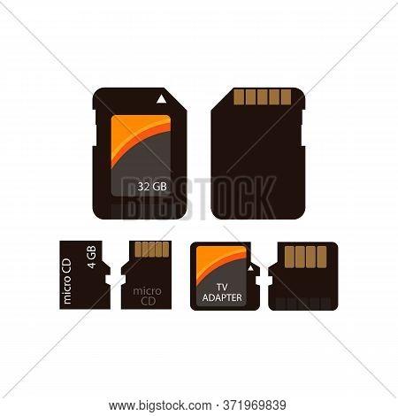 Memory Card Icon Set. 4 Gb Micro Sd Card, 32 Gb Card, Tv Adapter. Memory Data Storage Concept. Illus