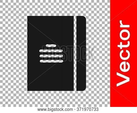 Black Notebook Icon Isolated On Transparent Background. Spiral Notepad Icon. School Notebook. Writin