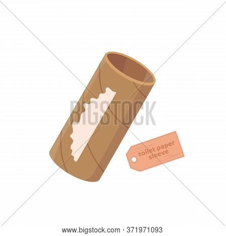 Empty Toilet Paper Tube, Roll. Toilet Paper Run Out. Vector Cartoon Flat Illustration Isolated On Wh