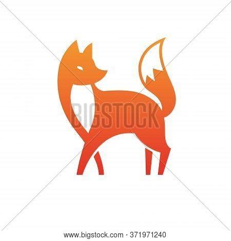 Vector Isolated Orange Fox Icon. Creative Logo Concept