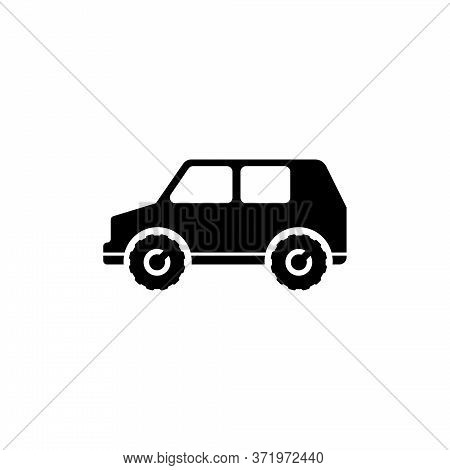 Suv Car, 4x4 Vehicle, Travel Transport. Flat Vector Icon Illustration. Simple Black Symbol On White