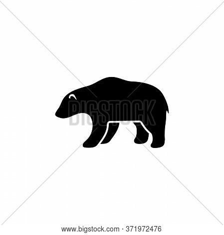 Grizzly Or Polar Bear, Kodiak Silhouette. Flat Vector Icon Illustration. Simple Black Symbol On Whit