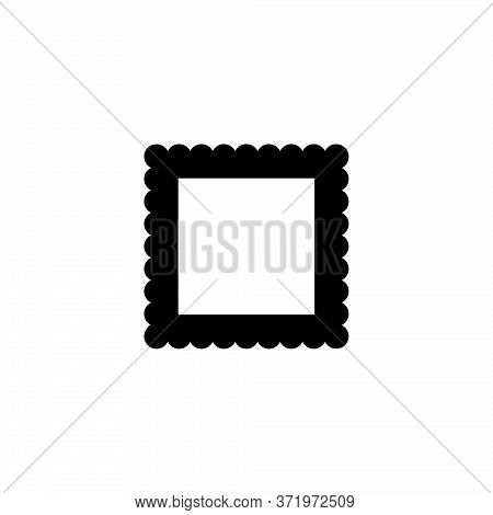 Postage Stamp, Correspondence, Postmark. Flat Vector Icon Illustration. Simple Black Symbol On White