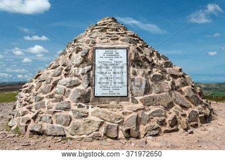 Dunkery. Somerset. United Kingdom. May 14th 2020. View Of The Plaque At The Summit Of Dunkery Hill I