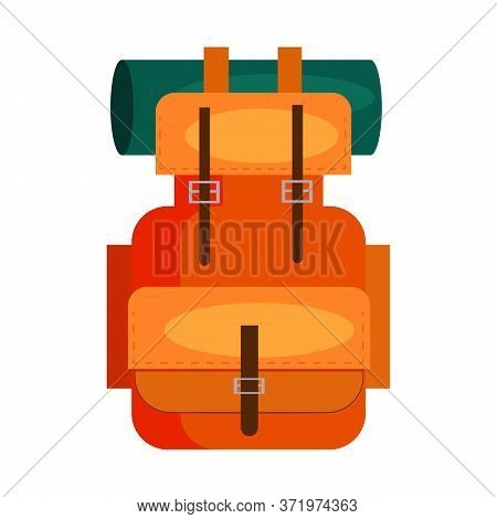 Touristic Backpack. Baggage, Rucksack, Pack, Bag. Trekking Concept. Illustration Can Be Used For Top