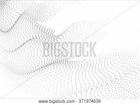 Abstract Background With Flying Particles. 3d Volumetric Waves From Many Points.