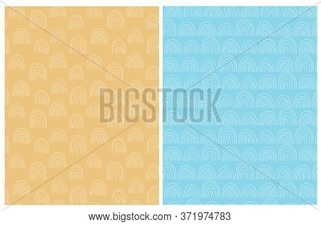 Hand Drawn Irregular Geometric Patterns. White Freehand Arcs Isolated On A Yellow And Blue Backgroun