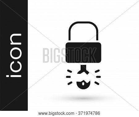Grey Key Broke Inside Of Padlock Icon Isolated On White Background. Padlock Sign. Security, Safety,