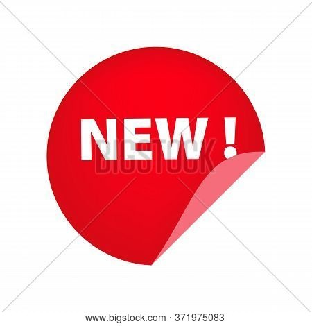 Red Round New Tag With Unstuck Corner On White Background. Product, Collection, Novelty. Sale Banner