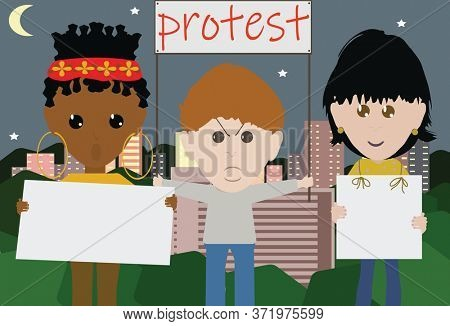 Illustration Small Group of Peaceful Protesters