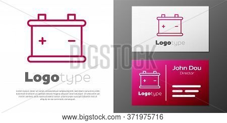 Logotype Line Car Battery Icon Isolated On White Background. Accumulator Battery Energy Power And El